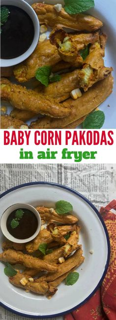 Airfryer recipes - Baby Corn Pakodas made with tender baby corns, dipped in a flavourful chickpea flour batter, minus the effort, hassle and calories of deep frying. These Pakodas turn out real good in the Air Fryer