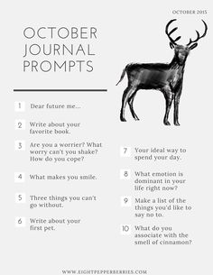 It's officially a new month which means October journal prompts! The first Friday of each month I'll be providing you with new journal prompts.