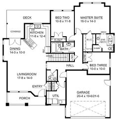 Craftsman Style House Plan - 3 Beds 2.5 Baths 1625 Sq/Ft Plan #126-143 Floor Plan - Main Floor Plan - Houseplans.com