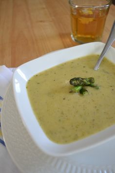 Cream of Asparagus Soup: Butter,shallot,garlic clove,18-20 Green Asparagus spears,salt/pepper,dried oregano, low sodium Vegetable stock,Milk,lemon juice and terragon...yum