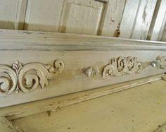 Ornate wall rack shabby cottage chic crystal door knob hooks salvaged pediment handmade home decor anita spero