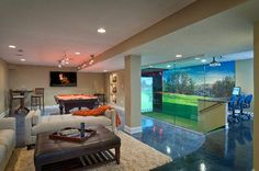 Billiards and Golf - Electronic House Silver Home of the Year Winner in Fun Room Category - This 3,000-square-foot entertainment oasis sports a golf simulator, home theater and a #Control4 home automation system. System design and installation by Audio Video Interiors in Middleburg Heights, Ohio. Photography by Howard Tucker. Full write-up: http://www.electronichouse.com/article/golf_billiards_and_home_cinema_meet_here/