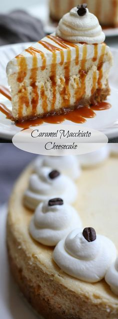 This delicious Caramel Macchiato Cheesecake recipe creates a silky, fluffy and wonderfully decadent cheesecake perfect for the holidays. Coffee lovers adore this dessert. Winter Desserts, Köstliche Desserts, Christmas Desserts, Delicious Desserts, Dessert Recipes, Yummy Food, Christmas Goodies, Weight Watcher Desserts, Coffee Cheesecake