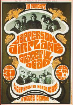 Great concert poster for Jefferson Airplane and Grateful Dead.