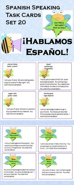 Spanish Speaking Task Cards-with hints! Set of 20-Bee Theme. Learn Spanish in Spain: www.facebook.com/Spanish.School.In.Spain