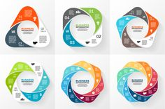6 cycle geometric infographics by theseamuss on @creativemarket