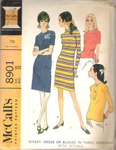 """Vintage 1967 McCall's 8901 Misses' Dress or Blouse in Three Versions with Initials Sewing Pattern Size 12 Bust 32"""" by Recycledelic1 on Etsy"""