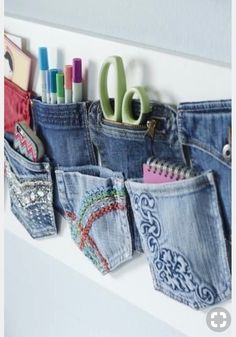 40 ways to upcycle old clothes - diy for life pocket craft, recycle jeans, Recycle Old Clothes, Recycle Jeans, Upcycle, Jean Crafts, Denim Crafts, Diy Jeans, Diy Clothes Videos, Clothes Crafts, Diy Clothes Refashion