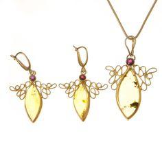 Aranyozott ezüst medál és fülbevaló szett borostyán és gránát kővel /68789/ Drop Earrings, Jewelry, Jewlery, Jewerly, Schmuck, Drop Earring, Jewels, Jewelery, Fine Jewelry