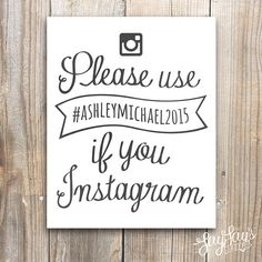 Wedding Hashtag Instagram Sign Watercolor Wall by LayLaysShoppe
