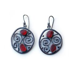 Red Framed Swirl Sea Glass Earrings Bezel Set Sterling Silver Drop Earrings
