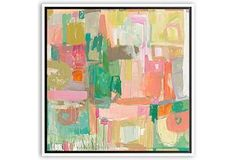 Can't get enough of this paintings abstract forms in brilliant luminous colors.