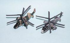 Kamov Ka-50 Black Shark and Ka-52 Alligator Attack Helicopter Paper Models 1:250 Scale Free Templates Download