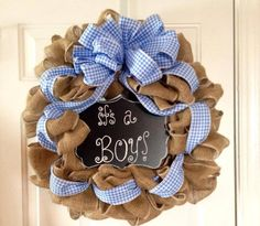 Burlap Wreath Baby Shower Changeable by tiffanynewcomb on Etsy