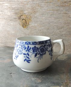 Antique Blue and White Mug Cunnard Steamship by nonniesporch
