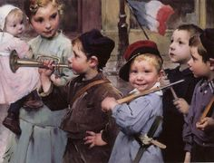 Le 14 juillet des petits écoliers by Henri Jules Jean Geoffroy dit Geo (French 1853-1924)
