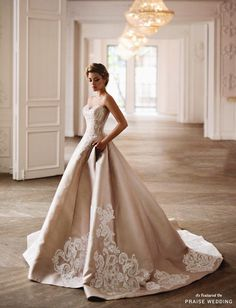 We can't resist this graceful champagne gown from Salon Kuraje!EDIT
