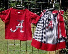Etsy - Easy Edges -Brother/ Sister Set- Alabama Pillowcase dress and t-shirt- Crimson and Houndstooth