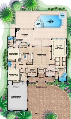 Country Style House Plan - 4 Beds 3 Baths 2855 Sq/Ft Plan #27-404 Floor Plan - Main Floor Plan - Houseplans.com
