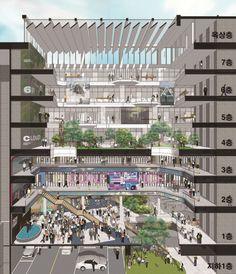 가운데 공간을 살려 전체를 관망할 수 있는 구조 Architecture Blueprints, Architecture Concept Drawings, Architecture Portfolio, Facade Architecture, Residential Architecture, Mix Use Building, Building Design, Green Building, Beaux Arts Lyon
