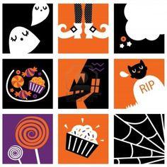Set of stylized halloween icons. Vector