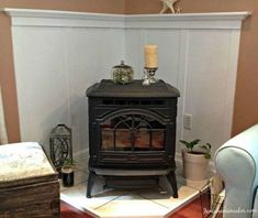 FIREPLACE MANTLE how to make a pellet stove mantle, diy, fireplaces mantels, woodworking projects Corner Mantle, Corner Wood Stove, Wood Stove Hearth, Wood Burner, Standing Fireplace, Wood Pellet Stoves, Propane Stove, Ship Lap Walls, Decoration