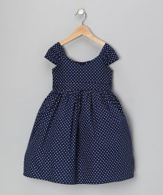 Take a look at this Navy Polka Dot Party Dress - Girls on zulily today!