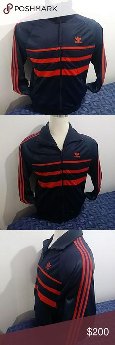 Vintage Retro-Adidas tracksuit jacket Vintage Retro-Adidas 1980's Hip Hop Run DMC tracksuit jacket. Color navy blue and red stripes size large unisex very rare ATP Keyrolan trefoil track jacket super excellent conditions no flaws 50% polyester 50% arrel traicetate adidas Jackets & Coats