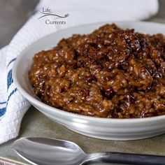 Easy Rice Pudding Using Leftover Cooked Rice Recipe - so comforting and homey, and it's the perfect way to use up that leftover rice. Easy Rice Pudding, Pudding Recipe, Cooked Rice Recipes, Leftover Rice, Dessert Recipes, Desserts, Soup, Beef, Chocolate