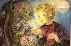 Sulamith Wulfing 1951 Magic CRYSTAL  Boy w Old Gnome Lithograph Art Card Matted #Vintage