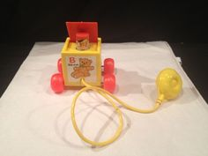 Awesome Vintage Fisher Price Peek-a-Boo Squeaking Block Pull Toy Complete 1970! #FISHERPRICE