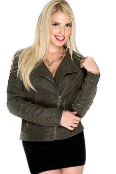 #FashionVault #diamond clubwear #Women #Jackets & Coats - Check this : Dark Olive Long Sleeve Studded Accent Faux Leather Jacket for $44.99 USD instead of $14.99 #OnSale