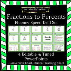 Fractions to Percents Fluency Speed Drill - 4 EDITABLE & timed PowerPointsFollow me to be notified when new products are released to get 20% off for the first 24 hoursSAVE $5:  Buy the BUNDLE!! Fractions, Decimals, Percents Fluency Speed Drill BUNDLE - 18 EDITABLE & timed PowerPointsThis download includes the following:A)4 speed drills that include 30 facts eachI.2010 PowerPoint versionII.1997-2003 PowerPoint versionB)Answer Key at the end of the slideshow C)Student tracking sheet (can e...