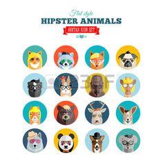 Plano Estilo Hipster Animales Avatar Icon Set de Medios de Comunicaci�n Social o Web Site photo