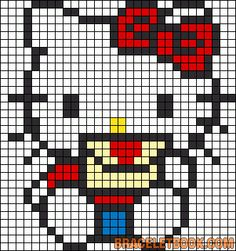 Free Hello Kitty with Love Letter Hama Perler Bead Pattern or Cross Stitch Chart