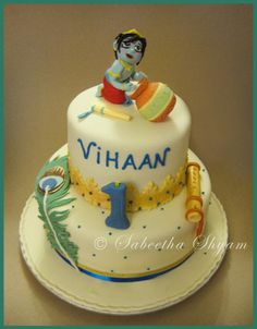 Cute Krishna Theme Cake for the special Krishna in your life!