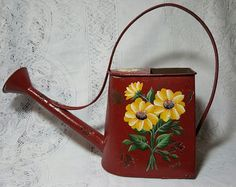 Hand Painted Daisies Watering Can by PaulasCottageCharm on Etsy