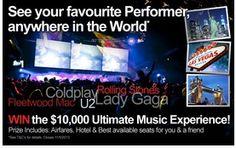 Win The $10,000 Ultimate Music Experience! Win Tickets, Rock Concert, Fleetwood Mac, Coldplay, Music, Musica, Musik, Muziek, Music Activities