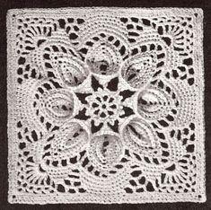 Vintage Crochet Pattern To Make Bedspread Motif Block Lily Design Puritan
