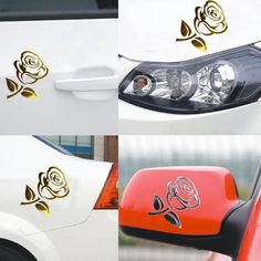 1.05$  Buy here - http://aiib4.worlditems.win/redirect/32717920339 - 2017 1PCS 10.5*8.5cm 3D Silver/Golden Stereo Cutout Rose Car Vehicle PVC Logo Reflective Car Sticker Decal  Flowers Art Hot Sale   #shopstyle