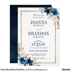 Navy Blue Blush Pink Rose Boho Geometric Wedding Invitation Spring Wedding Invitations, Watercolor Wedding Invitations, Floral Invitation, Wedding Invitation Cards, Wedding Stationery, Wedding Cards, Invites, Wedding Invitation Wording Examples, Gold Invitations