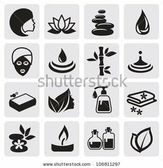 Spa Icons With White Background Stock Vector 136581998 : Shutterstock