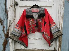 Ethnic Bohemian Festival Tassel Red Black Cotton Kimono Jacket// Small Medium// Spring Summer// emmevielle