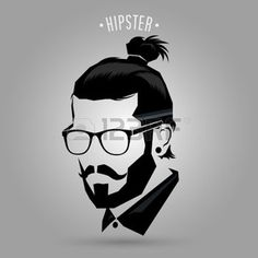 cheveux: Hipster men style sign on gray background