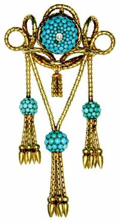 late 19th century 18k gold and turquoise bow brooche