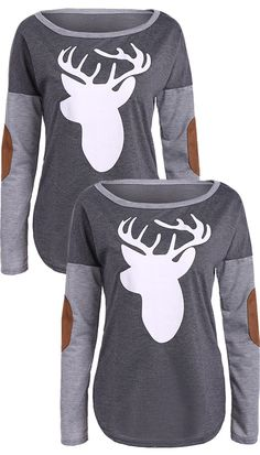 $13.54  Christmas Elbow Patch Reindeer Print Tee