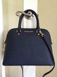 Michael Kors Cindy Large Dome Satchel Saffiano Leather Navy Blue 30S5GCPS3L #MichaelKors #Satchel - handbags, coin, vintage, for teens, ralph lauren, boho purses *ad