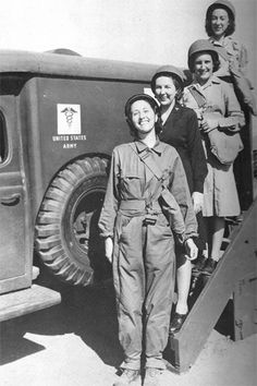 Nurses in front of a WC-54 Ambulance at Camp Bowie, Texas. From top to bottom: Second Lieutenants Clara A. Young, Eula M. Awbrey, Freda M. Martin, and Elizabeth T. Kramer (April 1943) ~