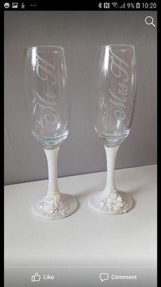Glitter stem & embellishments for the happy couple Glitter Glasses, Wedding Champagne Flutes, Personalised Frames, Mason Jar Wine Glass, Embellishments, Bling, Couple, Tableware, Happy