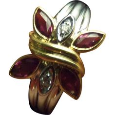 Estate Vintage Butterfly Ruby Diamond Ring Solid 18K Gold Size 6 from odditiesandantiquites on Ruby Lane